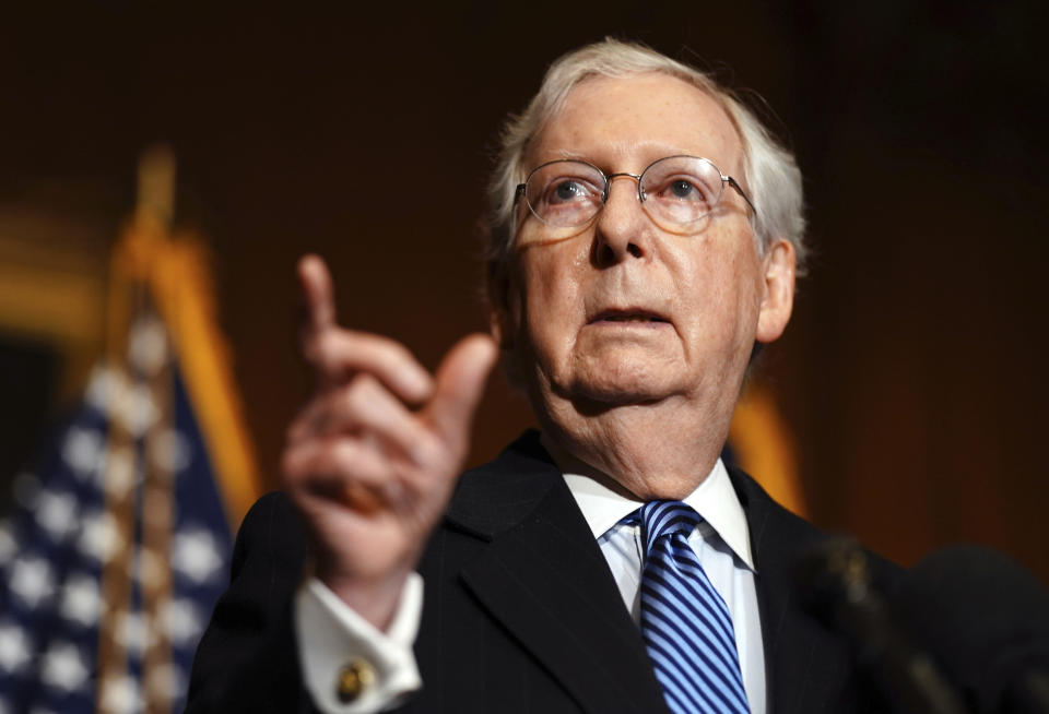 Senate Majority Leader Mitch McConnell of Kentucky, speaks to the media after the Republican's weekly Senate luncheon, Tuesday, Dec. 8, 2020 at the Capitol in Washington. (Kevin Dietsch/Pool via AP)