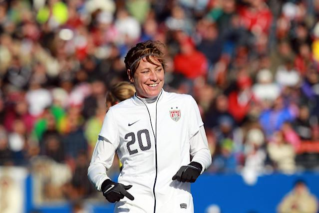 FRISCO, TX - FEBRUARY 11: Abby Wambach #20 of USA during an international friendly with New Zealand at FC Dallas Stadium on February 11, 2012 in Frisco, Texas. (Photo by Ronald Martinez/Getty Images)
