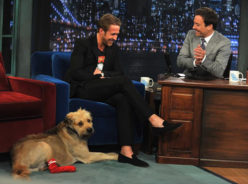 "NEW YORK, NY - JULY 20: Ryan Gosling along with his dog George visits ""Late Night With Jimmy Fallon"" at Rockefeller Center on July 20, 2011 in New York City. (Photo by Theo Wargo/Getty Images)"