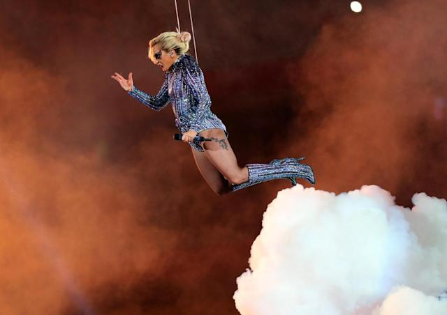 <p>Lady Gaga performs during the halftime show during Super Bowl LI at NRG Stadium. Mandatory Credit: Kevin Jairaj-USA TODAY Sports </p>