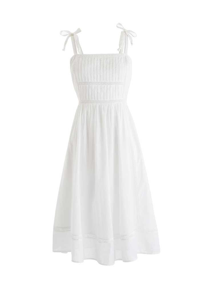 White pin tucked bodice boho dress.