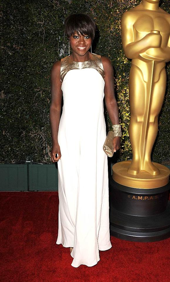 """Likely Oscar nominee Viola Davis -- who delivered a career-defining performance in """"The Help"""" -- oozed glamour at the Motion Picture Academy's 3rd Annual Governors Ball. Are you as big a fan of her Raoul """"Penelope"""" dress as we are? Discuss! (11/12/2011)"""