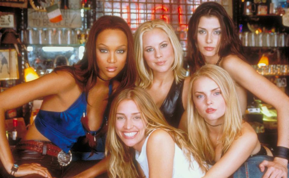 The cast of 'Coyote Ugly': Tyra Banks, Piper Perabo, Maria Bello, Bridget Moynahan and Izabella Miko