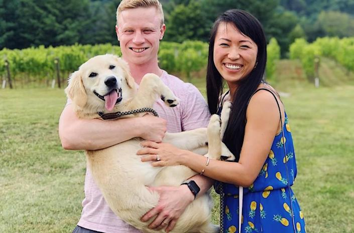 Charlotte food blogger Shuang Shuang Liang with her husband, Tom, and their dog, Muffin.