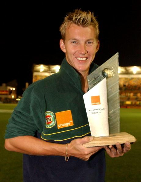 12 Nov 2001:  Brett Lee of Australia with the Man of The Match trophy during day five of the first cricket test between Australia and New Zealand held at the Gabba, Brisbane, Australia,  DIGITAL IMAGE Mandatory Credit: Chris McGrath/ALLSPORT