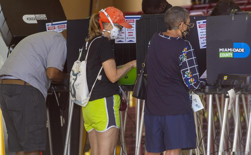 People voted early morning on election Day at the Miami-Dade County East Homestead Fire Rescue Station 65 on, November 03, 2020. (Pedro Portal/Miami Hearld/Tribune News Service via Getty Images)