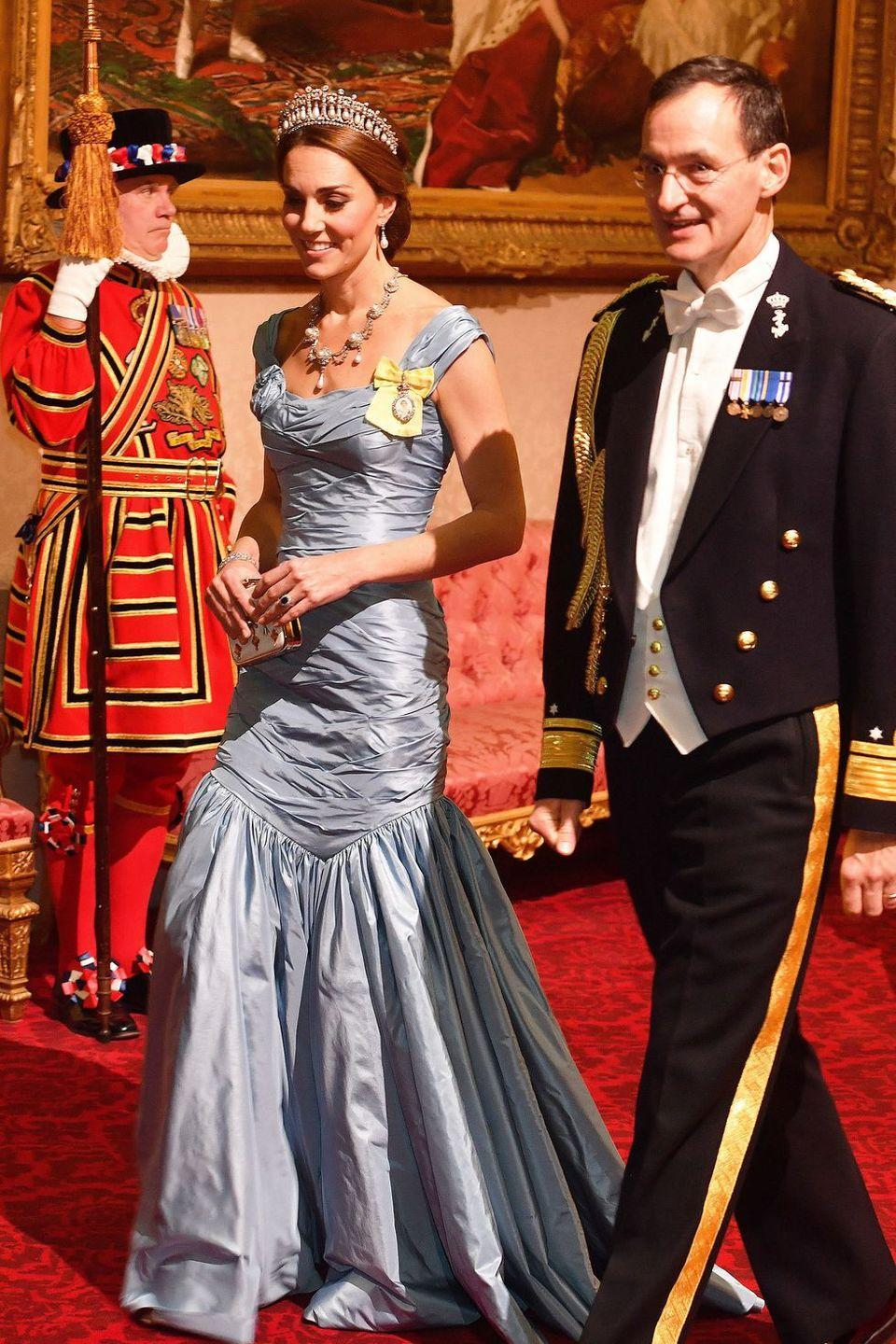 <p>The Duchess of Cambridge looked like a full-on princess in a blue Alexander McQueen gown and the Lover's Knot tiara for a state dinner at Buckingham palace. </p>