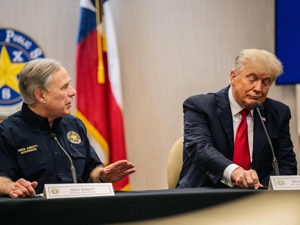 Texas Gov. Greg Abbott addresses former President Donald Trump during a border security briefing to discuss further plans in securing the southern border wall on June 30, 2021 in Weslaco, Texas (Getty Images)