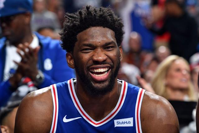Sixers center Joel Embiid earned some much-needed rest after igniting Philadelphia's record-tying 51-point third quarter. (Getty Images)