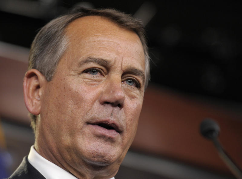 FILE - This Nov. 9, 2012 file photo shows House Speaker John Boehner of Ohio speaking during a news conference on Capitol Hill in Washington. Congress returns Tuesday to a crowded agenda of unfinished business after an election that left the balance of power unchanged but emboldened President Barack Obama and Senate Democrats. Trade with Russia, aid to farmers and a defense policy bill pack a list overshadowed by the urgent need to find a way to avoid tax increases and automatic spending cuts.   (AP Photo/Susan Walsh, File)