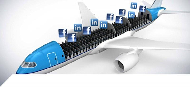 KLM lets travellers select their seatmates by accessing social media networks (KLM)