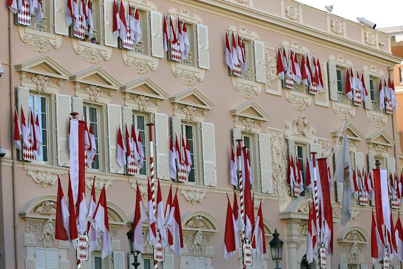 Palace of Monaco is adorned with flags on December 11, 2014 to mark the birth of baby twins to Prince Albert II and Princess Charlene (AFP Photo/Valery Hache)