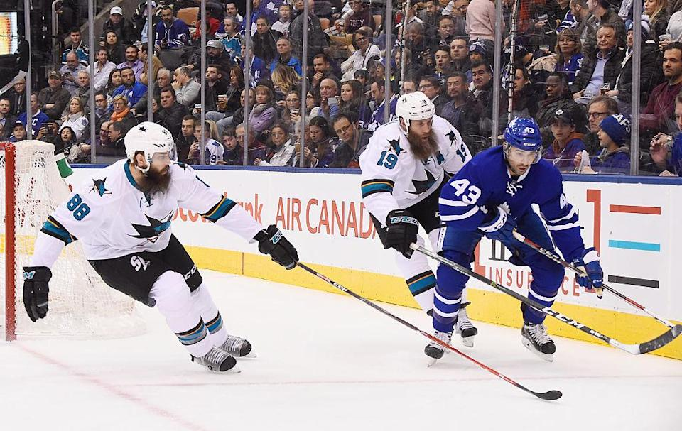 Joe Thornton and Nazem Kadri wouldn't appear to have much of a rivalry, but that didn't stop things from getting heating early on Thursday. (Getty Images)