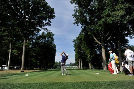 Jul 28, 2016; Springfield, NJ, USA; Robert Streb tees off on the fifth holeduring the first round of the 2016 PGA Championship golf tournament at Baltusrol GC - Lower Course. Mandatory Credit: Eric Sucar-USA TODAY Sports