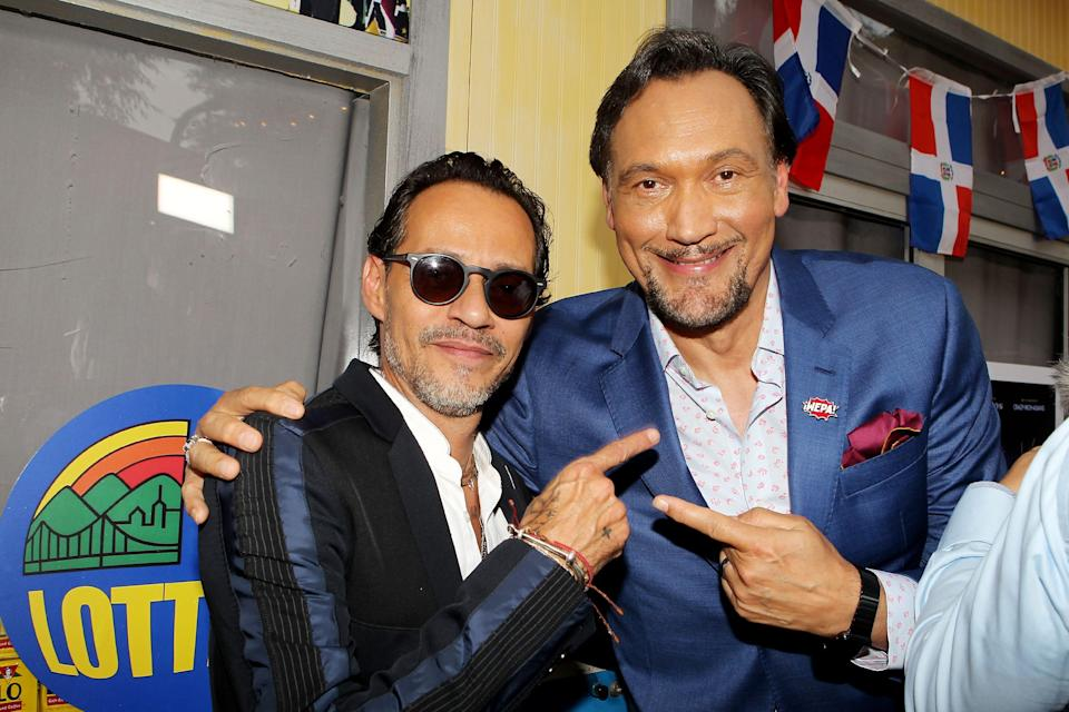 """Marc Anthony and Jimmy Smits at the premiere for """"In the Heights."""" Singer Anthony has a dramatic role, while dramatic actor Smits sings in the musical."""
