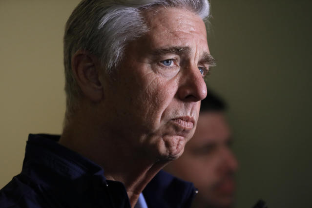 Dave Dombrowski, president of baseball operations for the Boston Red Sox, talks with reporters during the baseball general managers meetings Wednesday, Nov. 7, 2018, in Carlsbad, Calif. (AP Photo/Gregory Bull)