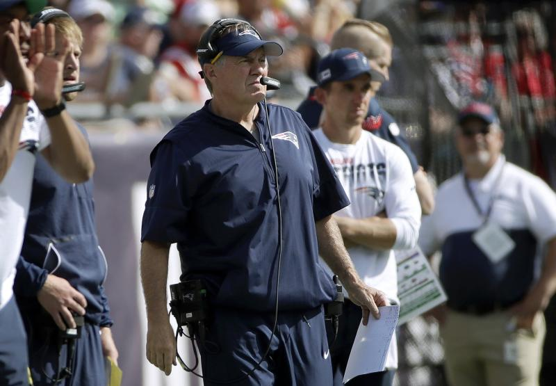 New England Patriots head coach Bill Belichick watches from the sideline in the second half of an NFL football game against the New York Jets, Sunday, Sept. 22, 2019, in Foxborough, Mass. (AP Photo/Elise Amendola)