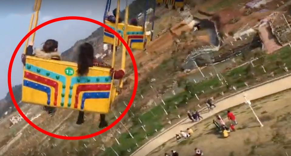 The swing ride was full when it malfunctioned and sent passengers plummeting to the ground. Source: Xuanwo Video
