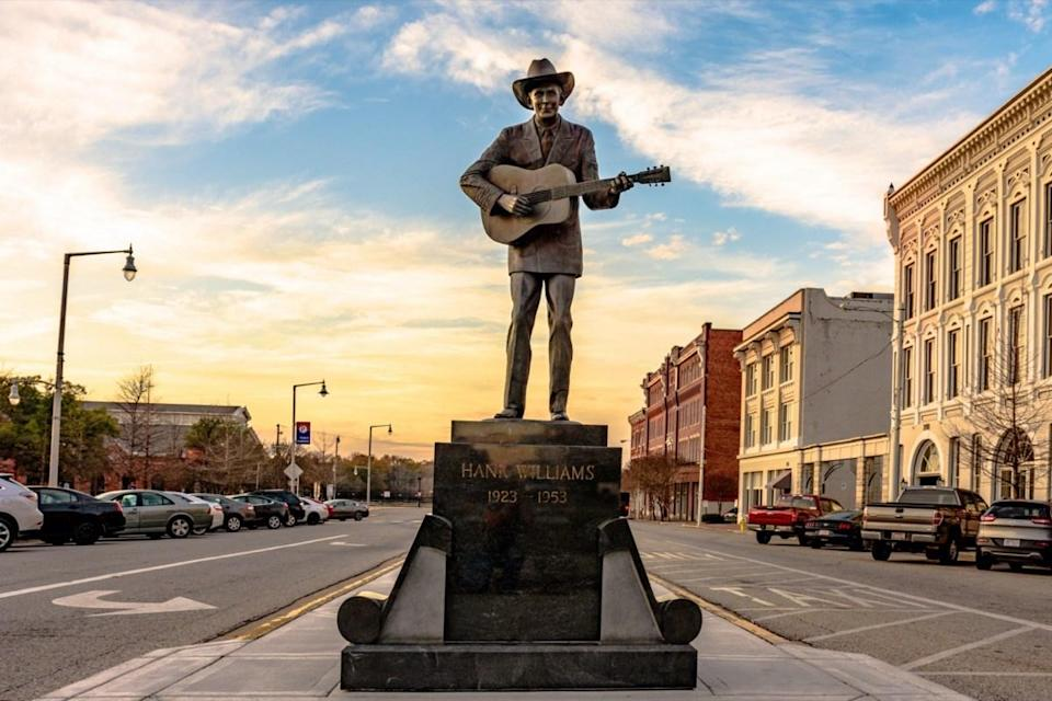 Statue of Hank Williams, the famous country singer, in its new location on Commerce Street