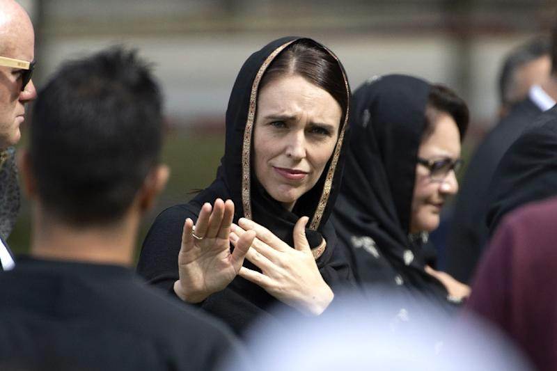 New Zealand's Prime Minister Jacinda Ardern gestures as she departs following a gathering for congregational Friday prayers last week. She has called for an official judicial inquiry into the mosque massacres (AFP Photo/Marty MELVILLE)