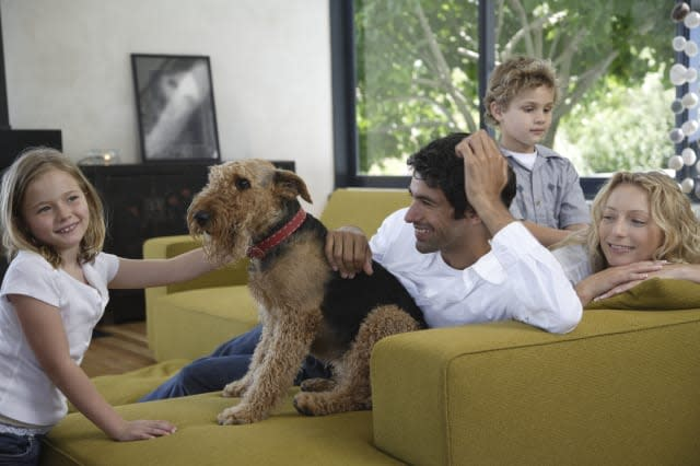 Family and dog relaxing on sofa