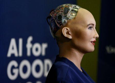 """Sophia, a robot integrating the latest technologies and artificial intelligence is pictured during a presentation at the """"AI for Good"""" Global Summit in Geneva"""