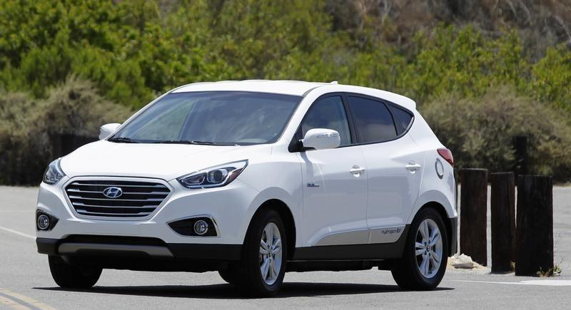 A Hyundai Tucson hydrogen fuel cell electric vehicle is driven in Newport Beach, California