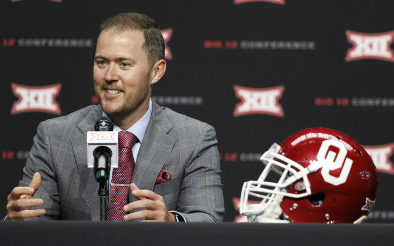 Oklahoma head coach Lincoln Riley speaks on the first day of Big 12 Conference NCAA college football media days Monday, July 15, 2019, at AT&T Stadium in Arlington, Texas. (AP Photo/David Kent)