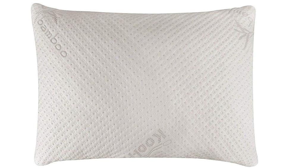 """<h3><strong>Snuggle-Pedic Bamboo Shredded Memory-Foam Pillow</strong></h3><br>This premium pillow was and still is must-cart bedding material. What makes this memory-foam model stand out from the crowd? It's eco-friendly, bamboo-blend filling that provides pressure relief and major sleep support.<br><br><strong>4.3 out of 5 stars and 4,838 reviews</strong><br><br><strong>Snuggle-Pedic</strong> Ultra-Luxury Bamboo Shredded Memory-Foam Pillow, $, available at <a href=""""https://www.amazon.com/Snuggle-Pedic-Ultra-Luxury-Combination-Adjustable-Hypoallergenic/dp/B0725349FN/ref=sr_1_1_sspa"""" rel=""""nofollow noopener"""" target=""""_blank"""" data-ylk=""""slk:Amazon"""" class=""""link rapid-noclick-resp"""">Amazon</a>"""