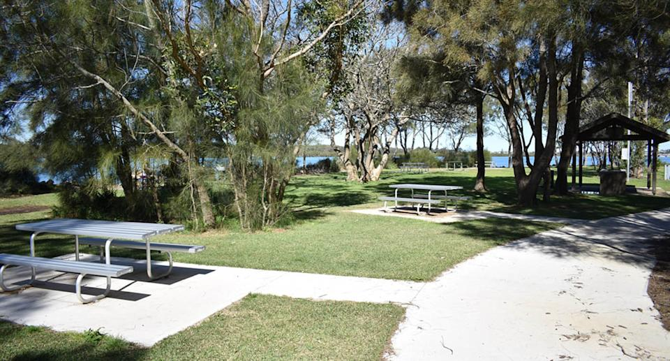 A photo of a picnic area on Coon Island, which proposed name is Pirrita Island.