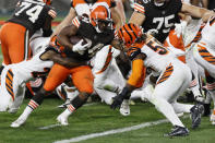 Cleveland Browns running back Nick Chubb rushes for a 1-yard touchdown during the second half of the team' NFL football game against the Cincinnati Bengals, Thursday, Sept. 17, 2020, in Cleveland. (AP Photo/Ron Schwane)