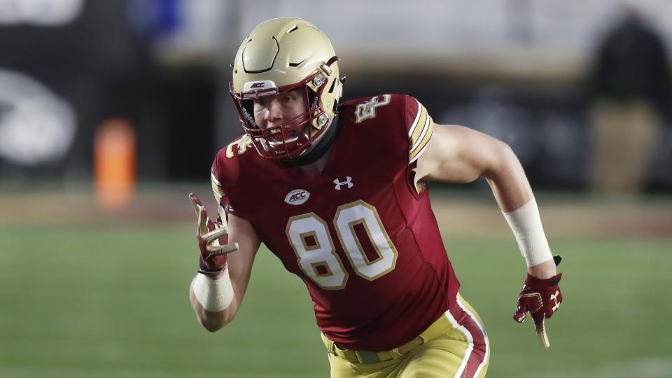Boston College tight end Hunter Long is terrific at the catch point. (AP Photo/Michael Dwyer)