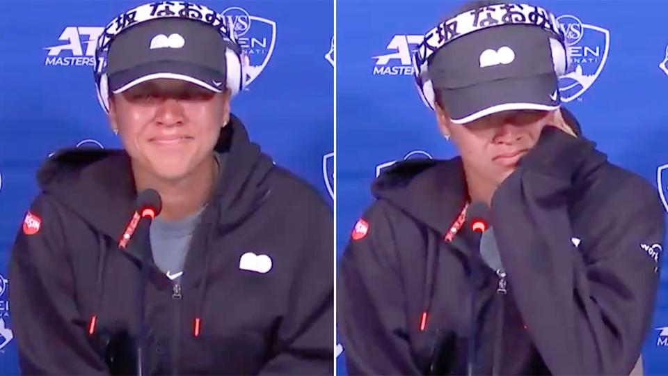 Pictured here, Noami Osaka broke down in tears in her first press conference back from a media blackout.