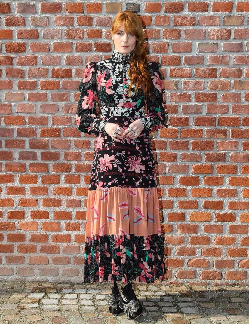 <p>Florence Welch was her typical boho self in a long printed dress. <i>[Photo: Instagram/gucci]</i> </p>