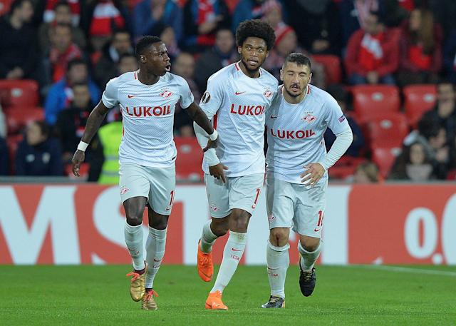 Soccer Football - Europa League Round of 32 Second Leg - Athletic Bilbao vs Spartak Moscow - San Mames, Bilbao, Spain - February 22, 2018 Spartak Moscow's Luiz Adriano celebrates scoring their first goal with Salvatore Bocchetti and Quincy Promes REUTERS/Vincent West