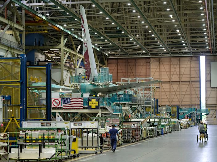 A Boeing 777X aircraft in production.
