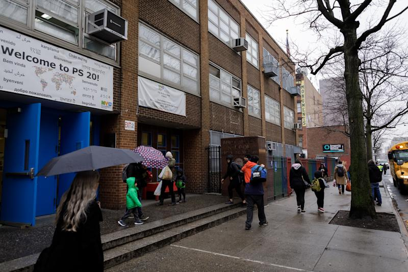 Outside of P.S. 20 in New York on Feb. 26, 2020. (Anna Watts/The New York Times)