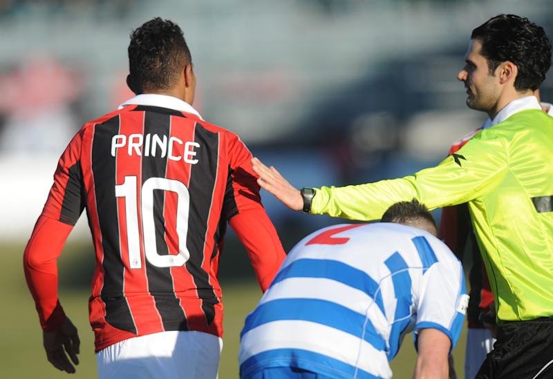 "Ac Milan's Ghanaian defender Prince Kevin Boateng leaves the pitch during the friendly football match between Pro Patria and Ac Milan in Busto Arsizio on January 3, 2013. Boateng stormed off the pitch after racist chants from a group of fans on Thursday, forcing a friendly away game against fourth-tier club Pro Patria to be suspended. ""Shame that these things still happen,"" the 25-year-old German-born Ghanaian player said on his Twitter account after the match was stopped in the 26th minute when he led his team off the pitch. Boateng picked up the ball, kicked it towards the stands and walked off the pitch in Pro Patria's home town of Busto Arsizio near Milan. AFP PHOTO / ALBERTO LINGRIA (Photo credit should read ALBERTO LINGRIA/AFP via Getty Images)"
