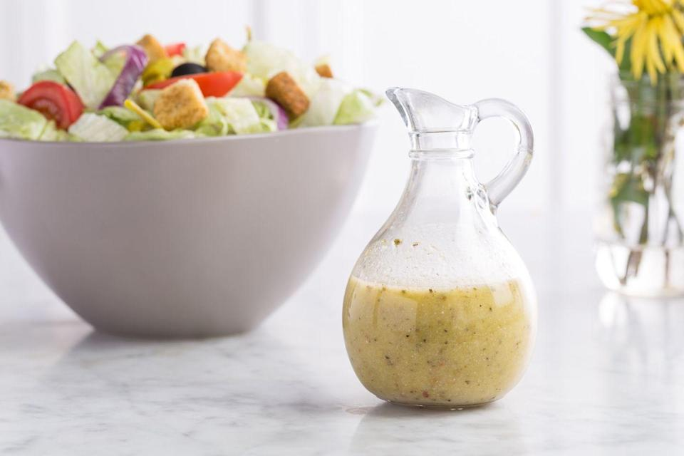 """<p>This salad dressing is ICONIC. It may even become your #1 used dressing – and it makes a great marinade. </p><p>Get the recipe from <a href=""""https://www.delish.com/cooking/recipe-ideas/recipes/a46101/copycat-olive-garden-salad-dressing-recipe/?visibilityoverride"""" rel=""""nofollow noopener"""" target=""""_blank"""" data-ylk=""""slk:Delish"""" class=""""link rapid-noclick-resp"""">Delish</a>.</p>"""