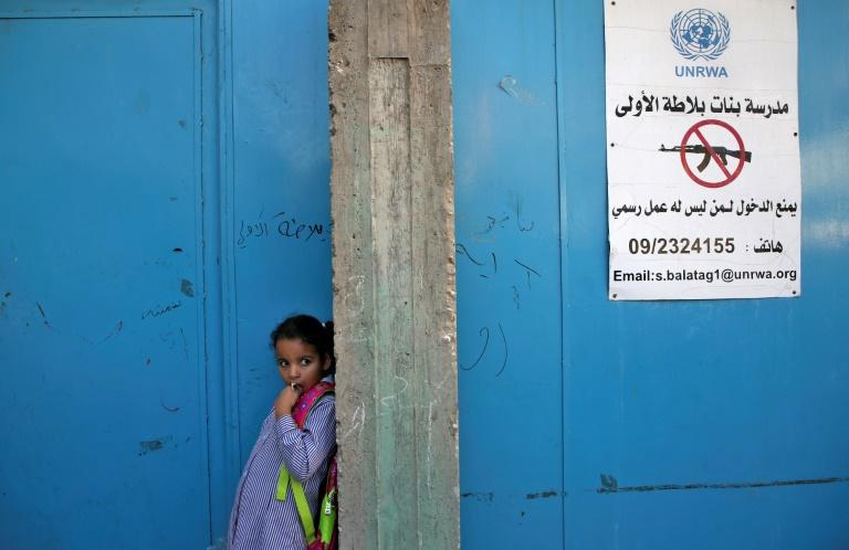 """""""Balata school for girls, no entry allowed to those who have no official purpose,"""" reads a sign in Arabic outside a school run by UNRWA, pictured on August 29, 2018"""
