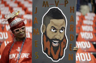 FILE - A fan holds a sign in support of Houston Rockets guard James Harden before Game 1 of the NBA basketball Western Conference Finals against the Golden State Warriors in Houston, in this Monday, May 14, 2018, file photo. It's a sad time for Houston sports fans after multiple superstars have left he city in the last year. (AP Photo/David J. Phillip, File)