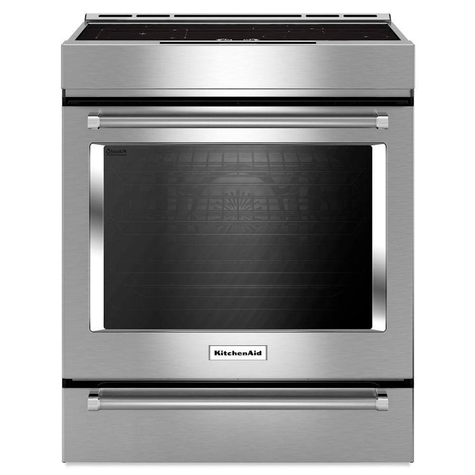 """<p><strong>KitchenAid</strong></p><p>homedepot.com</p><p><strong>$3299.00</strong></p><p><a href=""""https://go.redirectingat.com?id=74968X1596630&url=https%3A%2F%2Fwww.homedepot.com%2Fp%2FKitchenAid-7-1-cu-ft-Slide-In-Induction-Range-with-Self-Cleaning-Convection-Oven-in-Stainless-Steel-KSIB900ESS%2F205960823&sref=https%3A%2F%2Fwww.goodhousekeeping.com%2Fappliances%2Fg36572920%2Fbest-induction-cooktops%2F"""" rel=""""nofollow noopener"""" target=""""_blank"""" data-ylk=""""slk:Shop Now"""" class=""""link rapid-noclick-resp"""">Shop Now</a></p><p>If you're looking for a full induction range instead of a standalone cooktop, the KitchenAid 30-inch Induction Range <strong>combines an excellent convection oven with an economical induction range with four heating elements</strong>. The two heating elements on the left-hand side can be combined to form a bridge burner. This elegant range can slide directly into an existing countertop opening, which is appealing to those who aren't looking to renovate or install a solo cooktop. </p><p>In previous tests, we've been impressed by the even baking of KitchenAid ovens, and reviewers praise the speed and easy cleanup of this model's cooktop. Some have noted that the oven is slow to preheat and that the digital controls can be slow to respond. Although this KitchenAid range falls into a mid-priced category, it has many design elements, including an ultra-modern finish and top-facing control panel, that make it look closer to a luxury appliance.</p>"""