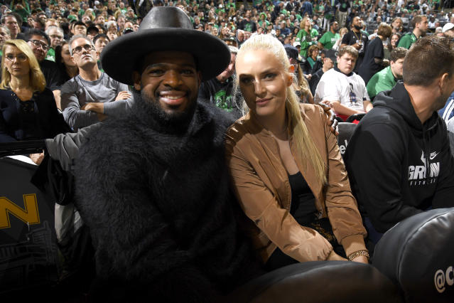 P.K. Subban and Lindsey Vonn were seen together at Game 7 of the Easter Conference Finals. (Photo by Brian Babineau/NBAE via Getty Images)