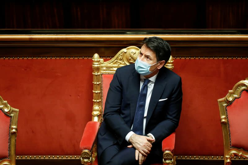 FILE PHOTO: Italian PM Conte attends debate before a confidence vote in the upper house of parliament, in Rome