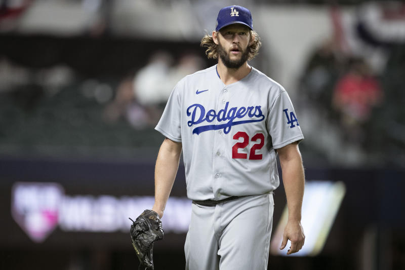 ARLINGTON, TX - OCTOBER 15: Clayton Kershaw #22 of the Los Angeles Dodgers looks on during Game 4 of the NLCS between the Atlanta Braves and the Los Angeles Dodgers at Globe Life Field on Thursday, October 15, 2020 in Arlington, Texas. (Photo by Kelly Gavin/MLB Photos via Getty Images)