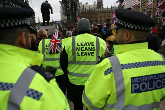 Police and Brexit supporters in parliament square on January 31, when the UK left the EU