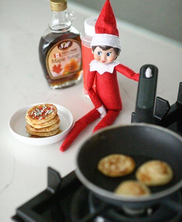 """<p>Tiny pancakes aren't just adorable—they're also perfect for an Elf to enjoy! Add a few Christmas sprinkles, and you've got yourself a picture-perfect Sunday morning with your kids' favorite trickster.</p><p><a class=""""link rapid-noclick-resp"""" href=""""https://go.redirectingat.com?id=74968X1596630&url=https%3A%2F%2Fwww.walmart.com%2Fip%2FThe-Pioneer-Woman-Timeless-Beauty-Cast-Iron-Set-3-Piece%2F55468725&sref=https%3A%2F%2Fwww.thepioneerwoman.com%2Fholidays-celebrations%2Fg34080491%2Ffunny-elf-on-the-shelf-ideas%2F"""" rel=""""nofollow noopener"""" target=""""_blank"""" data-ylk=""""slk:SHOP CAST-IRON PANS"""">SHOP CAST-IRON PANS</a></p><p><a href=""""https://www.instagram.com/p/CIPUP1rl0QV/"""" rel=""""nofollow noopener"""" target=""""_blank"""" data-ylk=""""slk:See the original post on Instagram"""" class=""""link rapid-noclick-resp"""">See the original post on Instagram</a></p>"""