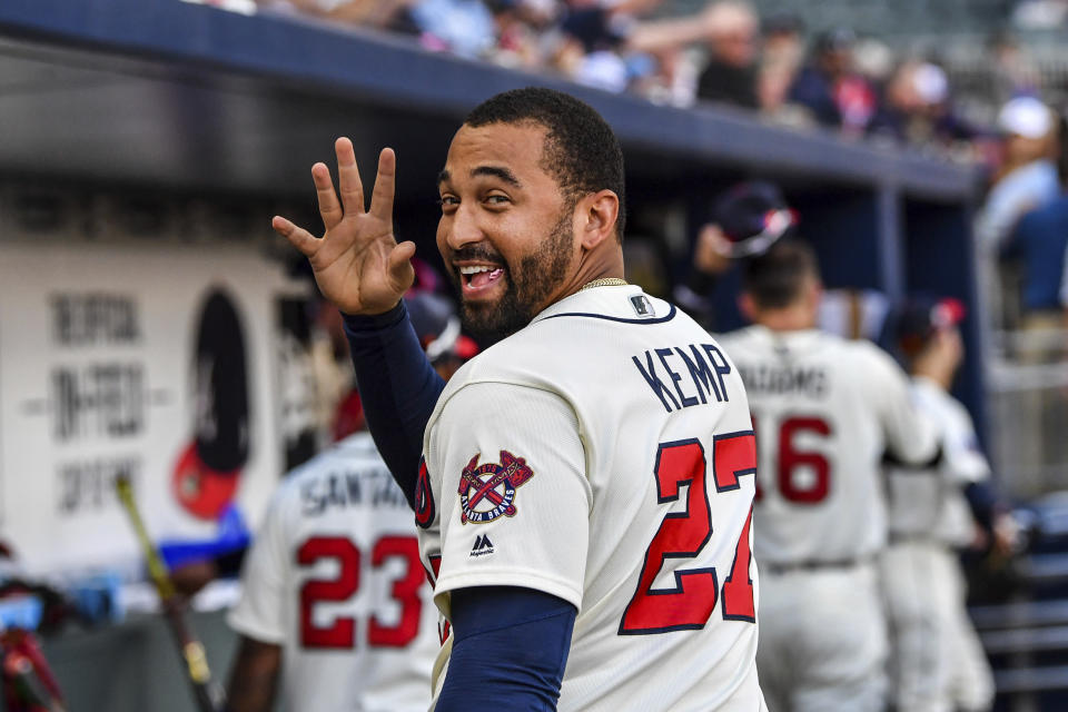Atlanta Braves' Matt Kemp waves to a fan after the team's baseball game against the Milwaukee Brewers on Saturday, June 24, 2017, in Atlanta. The Braves won 3-1. (AP)