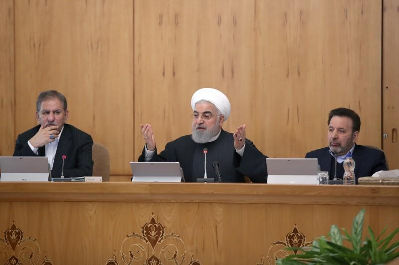 Iranian President Hassan Rouhani speaks during the cabinet meeting in Tehran