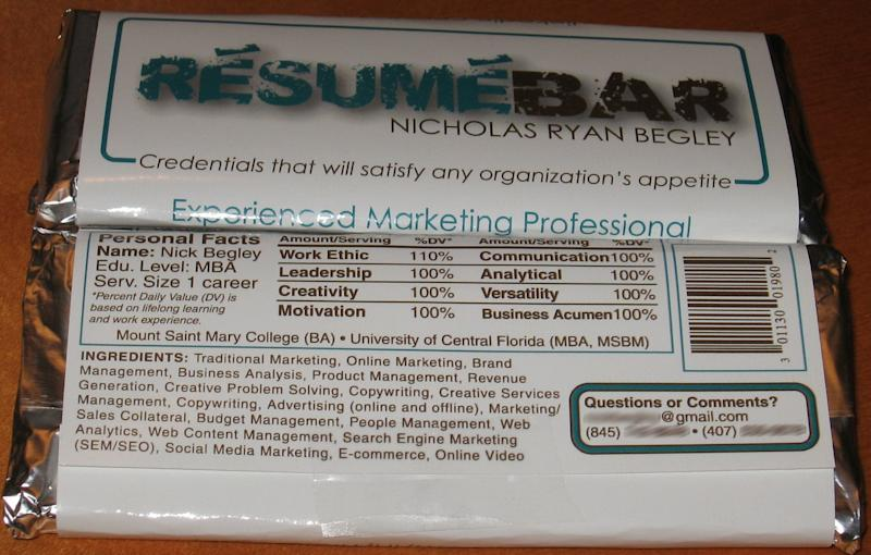 NY Man's Candy Bar Resume Lands Job